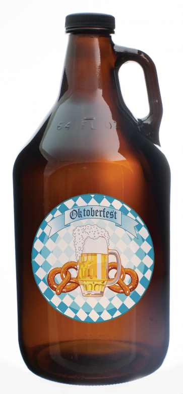 1/2 Gallon Amber Glass Growler