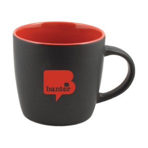 12oz Two-Tone Cafe Mug Red in Black Out