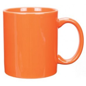 11 oz Vitrified Orange C-Handle Mug